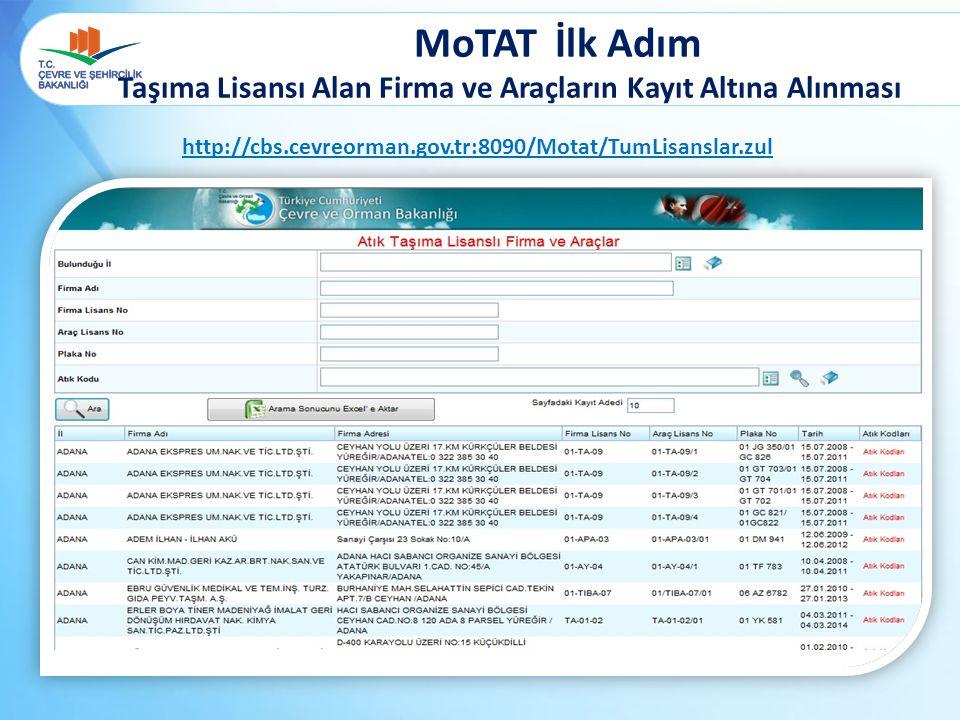 MoTAT İlk Adım Taşıma Lisansı Alan Firma ve Araçların Kayıt Altına Alınması