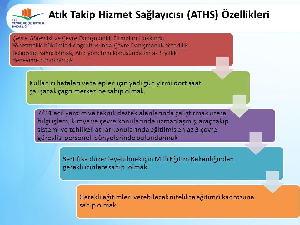 Atık Takip Hizmet Sağlayıcısı (ATHS) Özellikleri