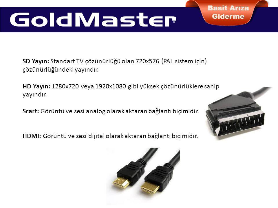 Basit Arıza Giderme SD Yayın: Standart TV çözünürlüğü olan 720x576 (PAL sistem için) çözünürlüğündeki yayındır.