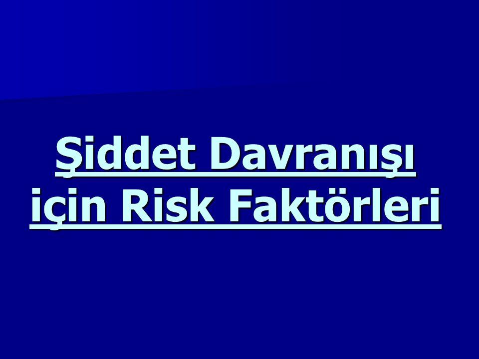 Şiddet Davranışı için Risk Faktörleri