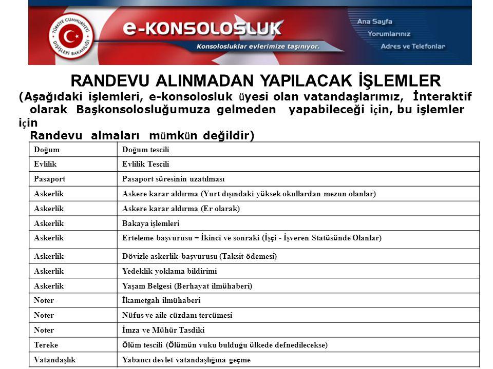 RANDEVU ALINMADAN YAPILACAK İŞLEMLER