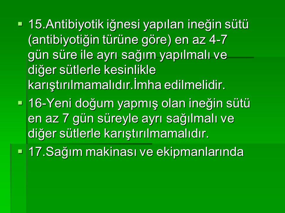 15.Antibiyotik iğnesi yapılan ineğin sütü (antibiyotiğin türüne göre) en az 4-7 gün süre ile ayrı sağım yapılmalı ve diğer sütlerle kesinlikle karıştırılmamalıdır.İmha edilmelidir.
