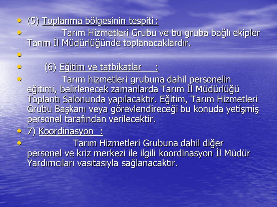 (5) Toplanma bölgesinin tespiti :