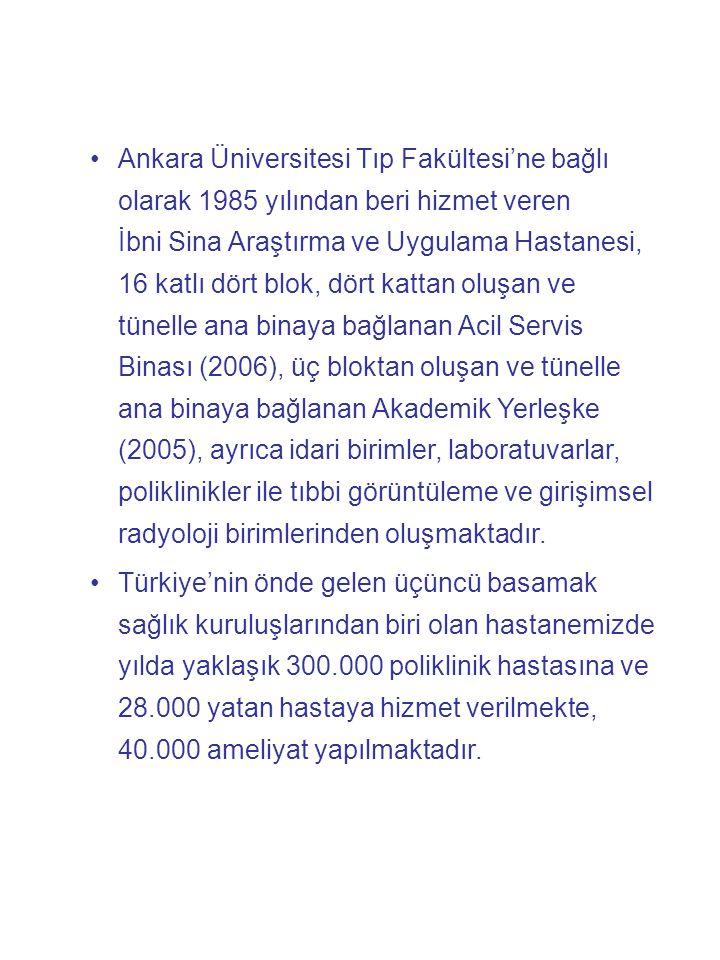 Ankara Üniversitesi Tıp Fakültesi'ne bağlı olarak 1985 yılından beri hizmet veren İbni Sina Araştırma ve Uygulama Hastanesi, 16 katlı dört blok, dört kattan oluşan ve tünelle ana binaya bağlanan Acil Servis Binası (2006), üç bloktan oluşan ve tünelle ana binaya bağlanan Akademik Yerleşke (2005), ayrıca idari birimler, laboratuvarlar, poliklinikler ile tıbbi görüntüleme ve girişimsel radyoloji birimlerinden oluşmaktadır.