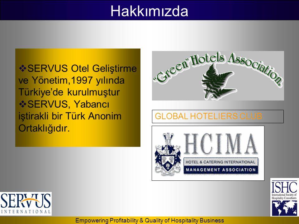 Hakkımızda SERVUS Otel Geliştirme ve Yönetim,1997 yılında Türkiye'de kurulmuştur. SERVUS, Yabancı iştirakli bir Türk Anonim Ortaklığıdır.