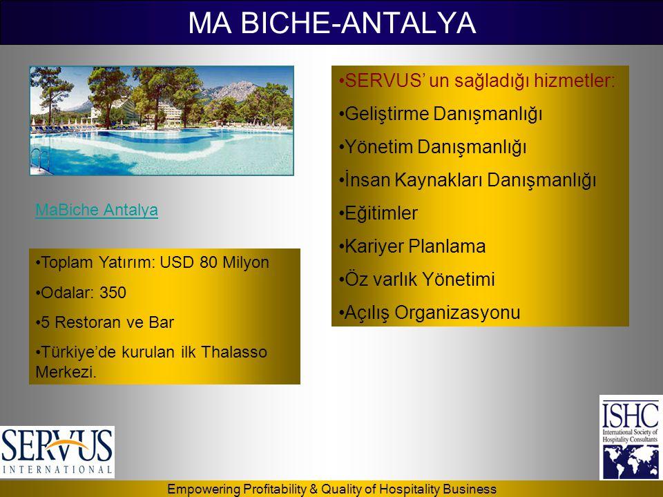 MA BICHE-ANTALYA SERVUS' un sağladığı hizmetler: