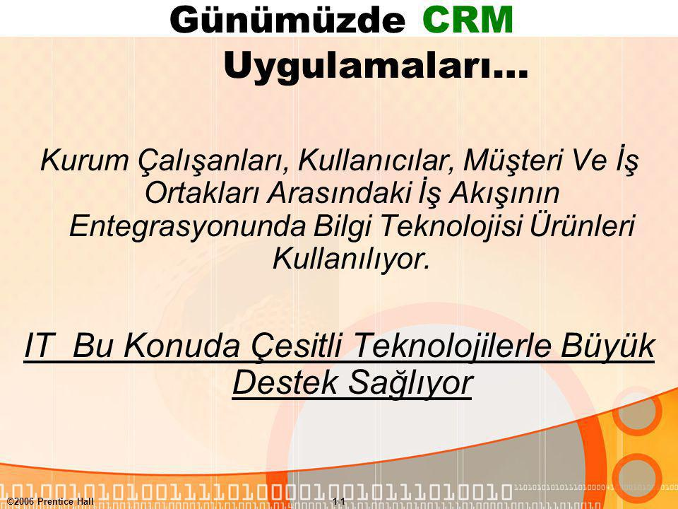 Günümüzde CRM Uygulamaları…