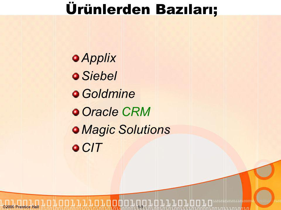 Ürünlerden Bazıları; Applix Siebel Goldmine Oracle CRM Magic Solutions