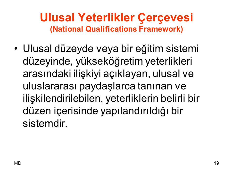 Ulusal Yeterlikler Çerçevesi (National Qualifications Framework)
