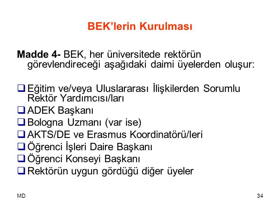 BEK'lerin Kurulması Madde 4- BEK, her üniversitede rektörün görevlendireceği aşağıdaki daimi üyelerden oluşur: