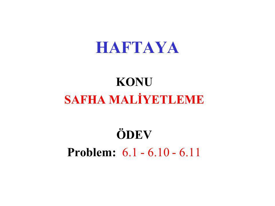 KONU SAFHA MALİYETLEME ÖDEV Problem: 6.1 - 6.10 - 6.11