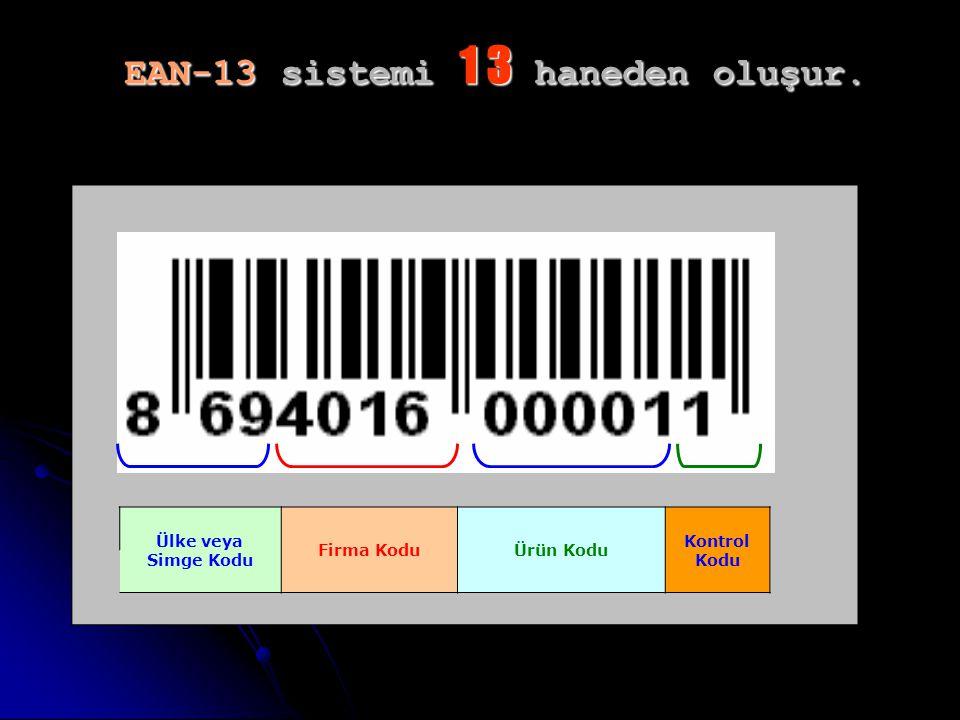 EAN-13 sistemi 1 3 haneden oluşur.