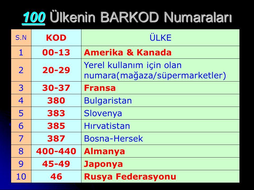 100 Ülkenin BARKOD Numaraları