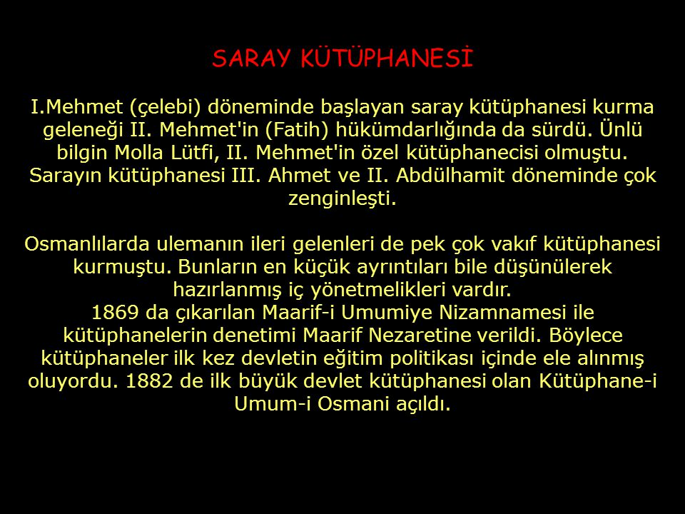 SARAY KÜTÜPHANESİ