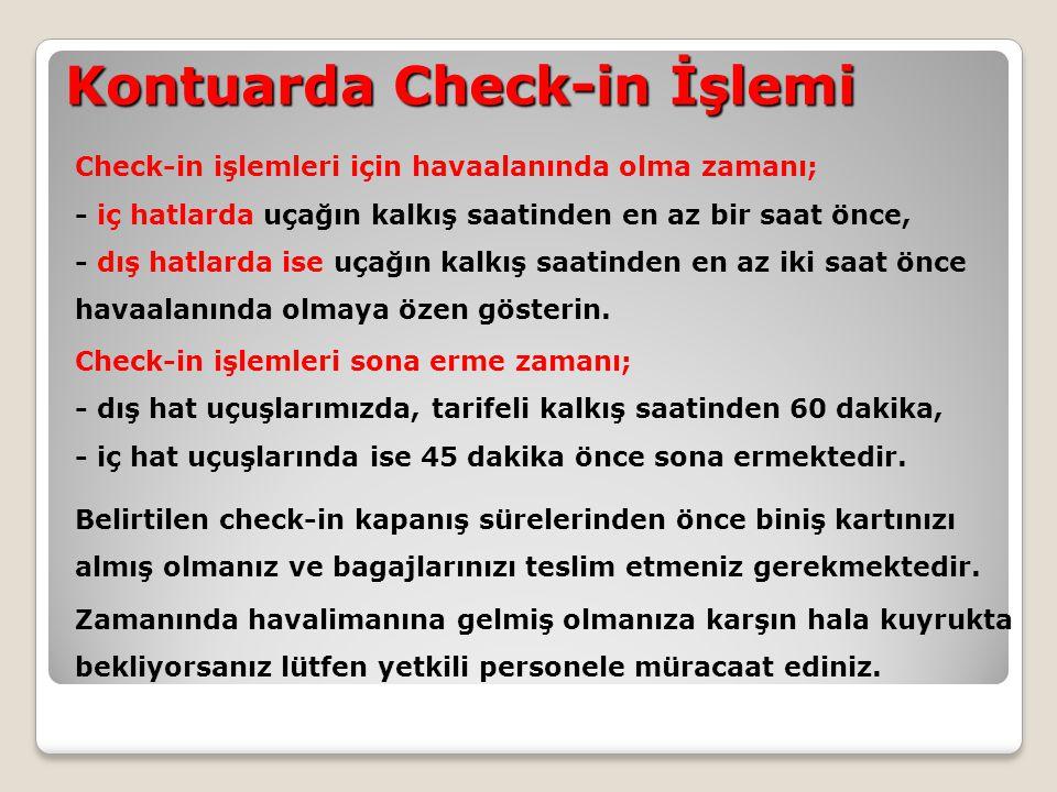 Kontuarda Check-in İşlemi