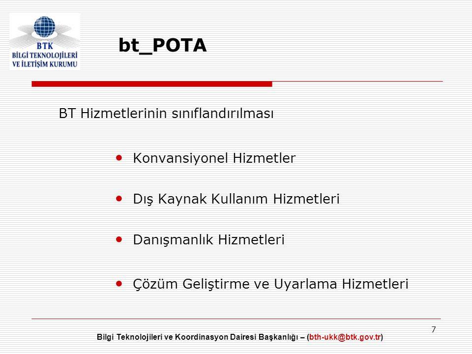 bt_POTA BT Hizmetlerinin sınıflandırılması Konvansiyonel Hizmetler