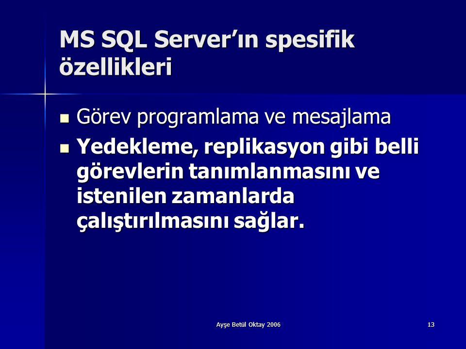 MS SQL Server'ın spesifik özellikleri