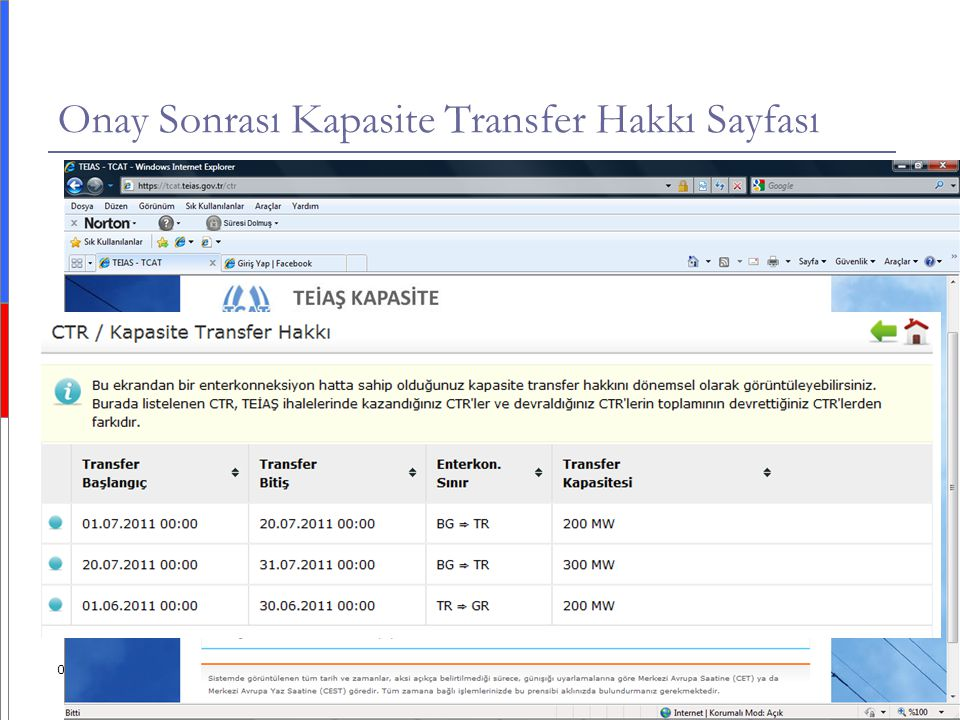Onay Sonrası Kapasite Transfer Hakkı Sayfası