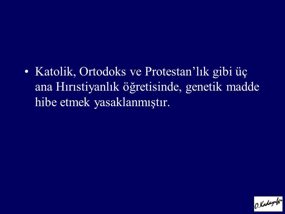 Katolik, Ortodoks ve Protestan'lık gibi üç ana Hırıstiyanlık öğretisinde, genetik madde hibe etmek yasaklanmıştır.