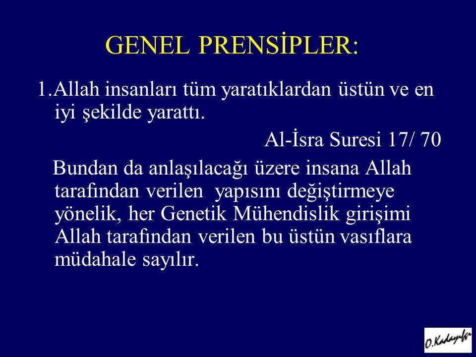 GENEL PRENSİPLER: 1.Allah insanları tüm yaratıklardan üstün ve en iyi şekilde yarattı. Al-İsra Suresi 17/ 70.