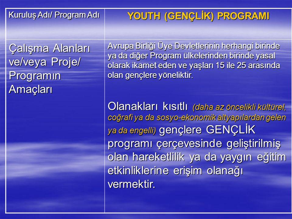 YOUTH (GENÇLİK) PROGRAMI