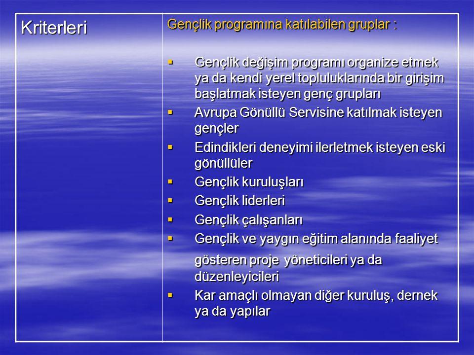 Kriterleri Gençlik programına katılabilen gruplar :