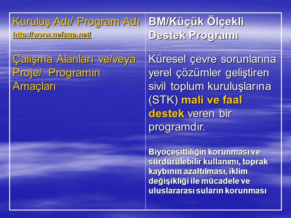 Kuruluş Adı/ Program Adı BM/Küçük Ölçekli Destek Programı
