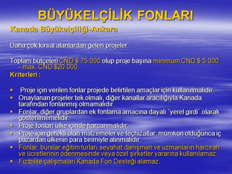 BÜYÜKELÇİLİK FONLARI Kanada Büyükelçiliği-Ankara