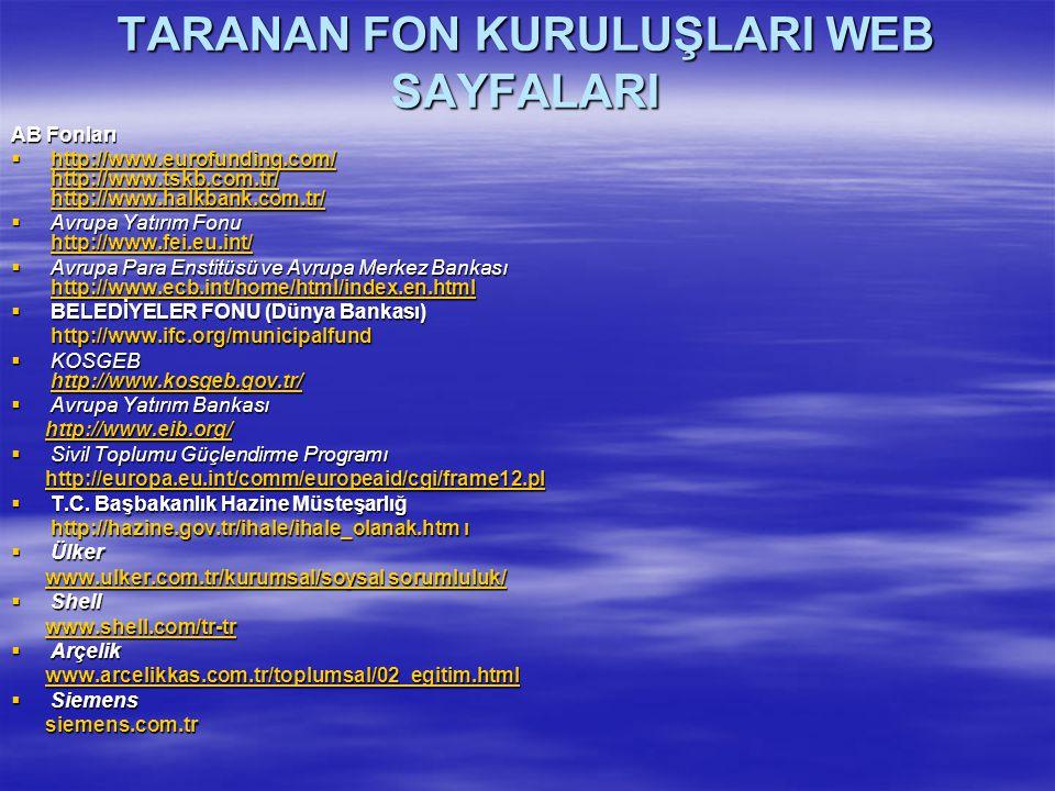 TARANAN FON KURULUŞLARI WEB SAYFALARI