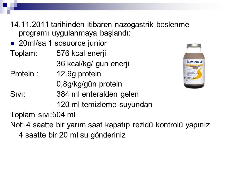 14.11.2011 tarihinden itibaren nazogastrik beslenme programı uygulanmaya başlandı: