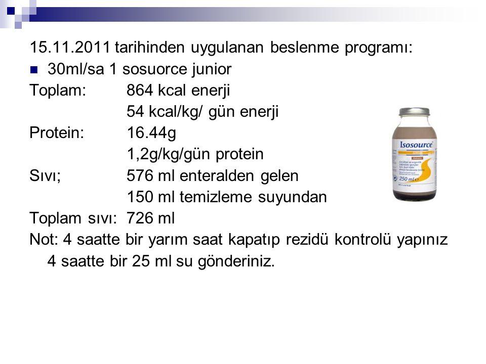 15.11.2011 tarihinden uygulanan beslenme programı:
