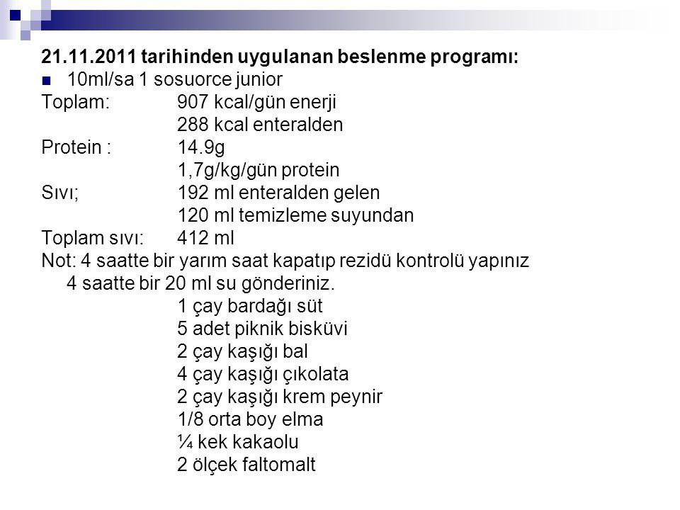 21.11.2011 tarihinden uygulanan beslenme programı:
