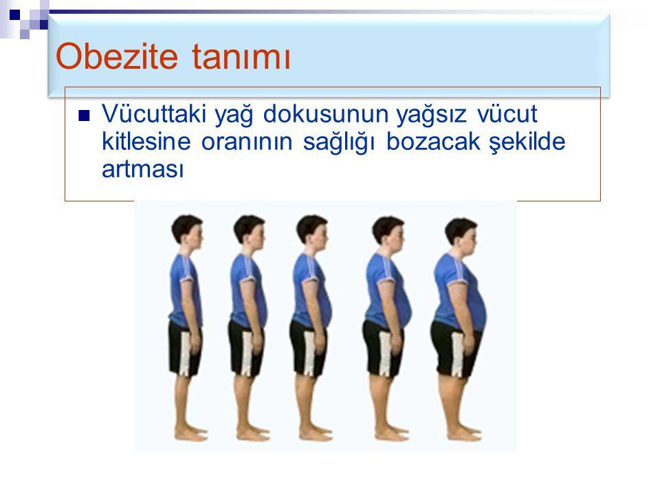 Obezite tanımı Vücuttaki yağ dokusunun yağsız vücut kitlesine oranının sağlığı bozacak şekilde artması.