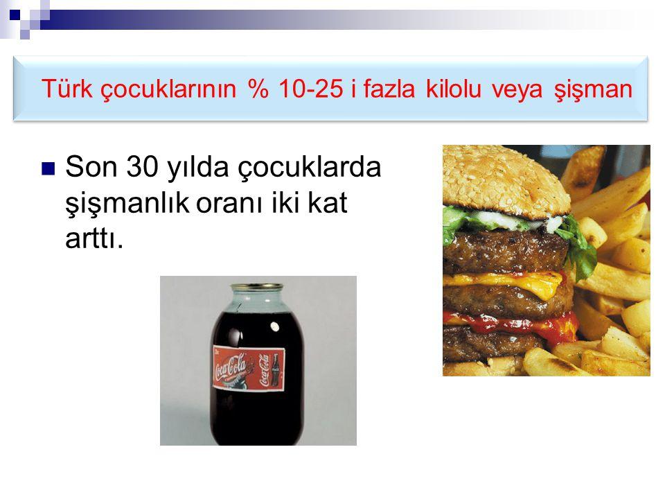 Türk çocuklarının % 10-25 i fazla kilolu veya şişman