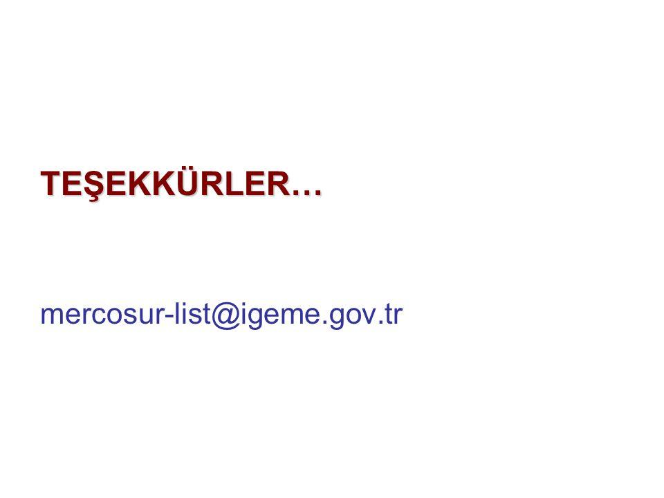 TEŞEKKÜRLER… mercosur-list@igeme.gov.tr