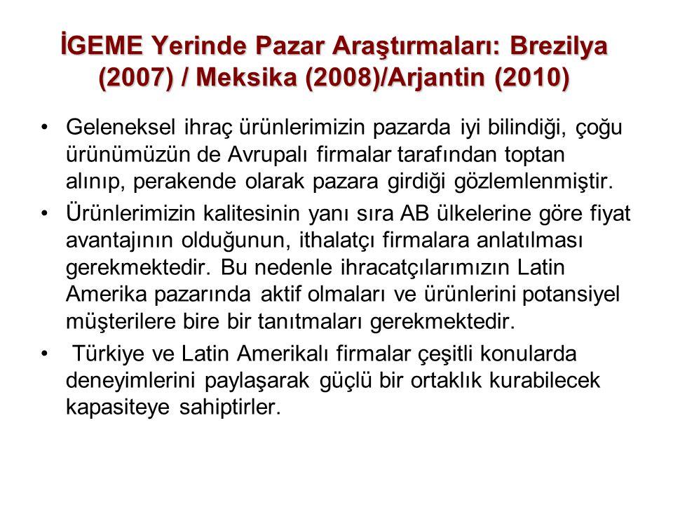İGEME Yerinde Pazar Araştırmaları: Brezilya (2007) / Meksika (2008)/Arjantin (2010)