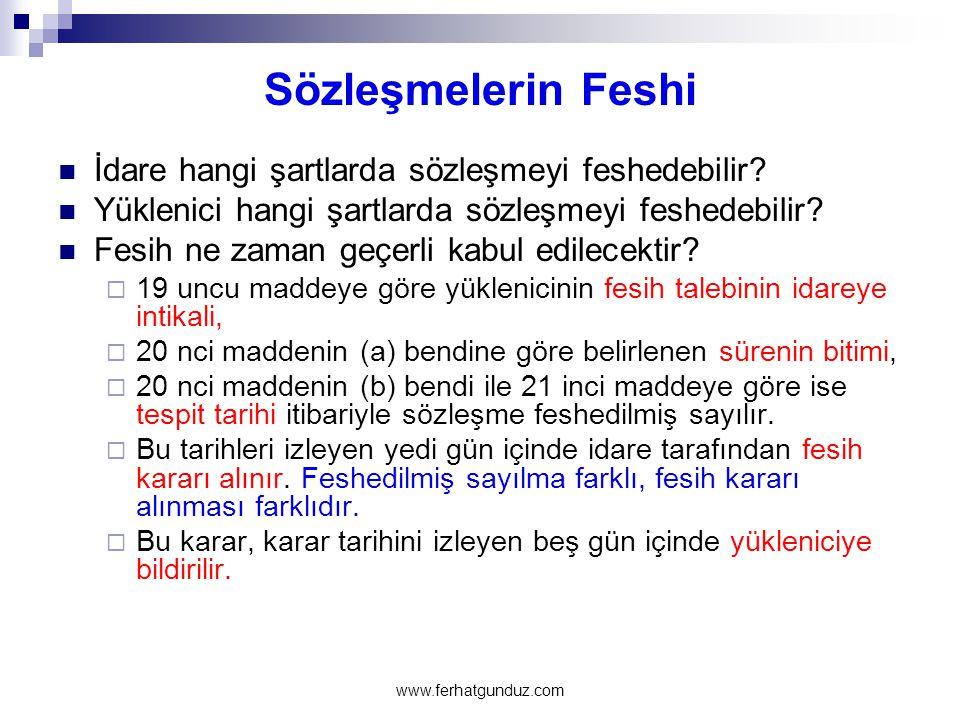 Sözleşmelerin Feshi İdare hangi şartlarda sözleşmeyi feshedebilir