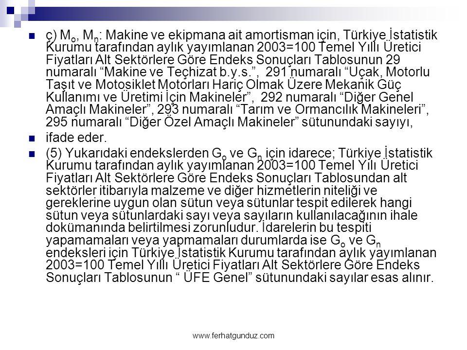 ç) Mo, Mn: Makine ve ekipmana ait amortisman için, Türkiye İstatistik Kurumu tarafından aylık yayımlanan 2003=100 Temel Yıllı Üretici Fiyatları Alt Sektörlere Göre Endeks Sonuçları Tablosunun 29 numaralı Makine ve Teçhizat b.y.s. , 291 numaralı Uçak, Motorlu Taşıt ve Motosiklet Motorları Hariç Olmak Üzere Mekanik Güç Kullanımı ve Üretimi İçin Makineler , 292 numaralı Diğer Genel Amaçlı Makineler , 293 numaralı Tarım ve Ormancılık Makineleri , 295 numaralı Diğer Özel Amaçlı Makineler sütunundaki sayıyı,