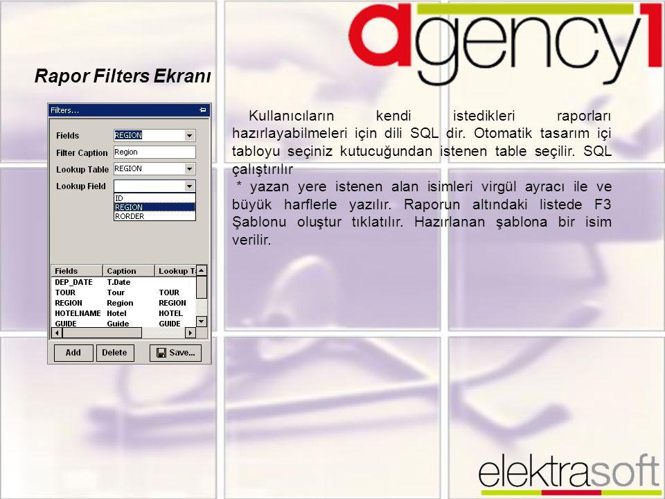 Rapor Filters Ekranı