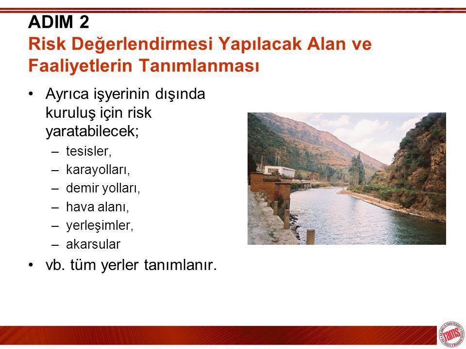 ADIM 2 Risk Değerlendirmesi Yapılacak Alan ve Faaliyetlerin Tanımlanması