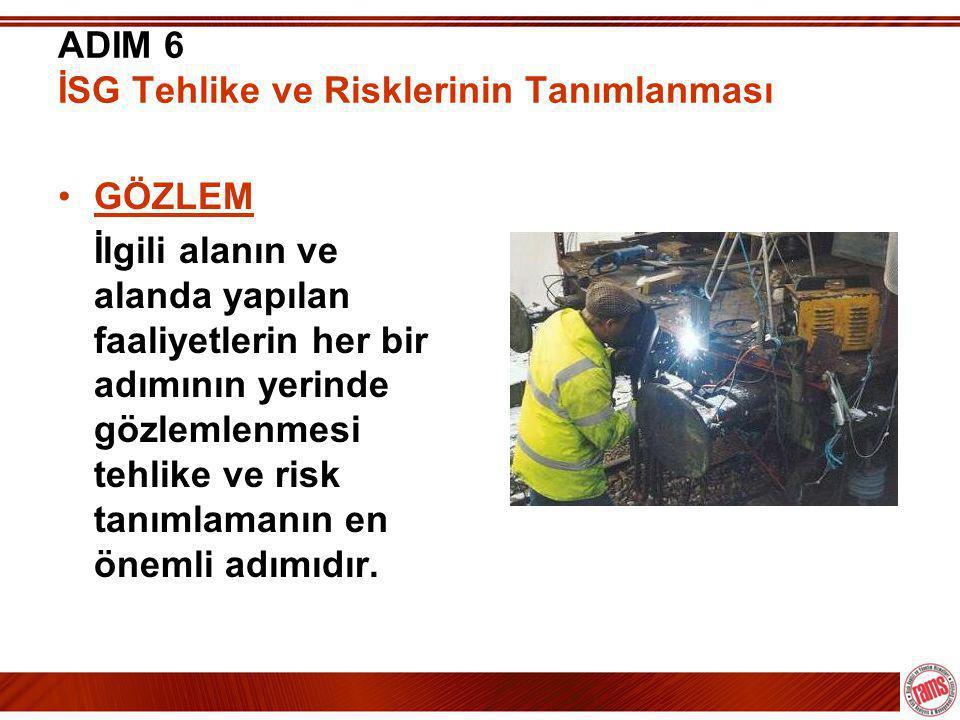 ADIM 6 İSG Tehlike ve Risklerinin Tanımlanması