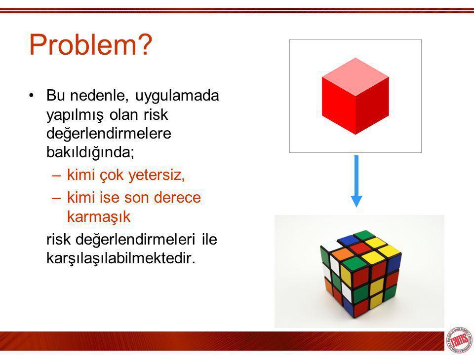 Problem Bu nedenle, uygulamada yapılmış olan risk değerlendirmelere bakıldığında; kimi çok yetersiz,