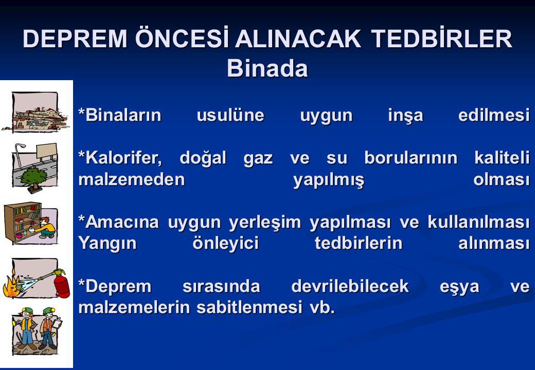 DEPREM ÖNCESİ ALINACAK TEDBİRLER Binada