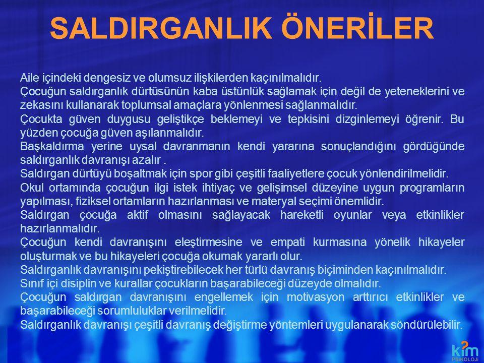 SALDIRGANLIK ÖNERİLER