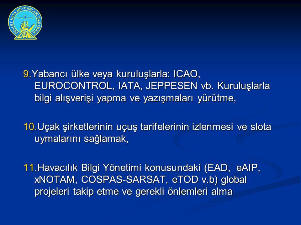 9.Yabancı ülke veya kuruluşlarla: ICAO, EUROCONTROL, IATA, JEPPESEN vb. Kuruluşlarla bilgi alışverişi yapma ve yazışmaları yürütme,