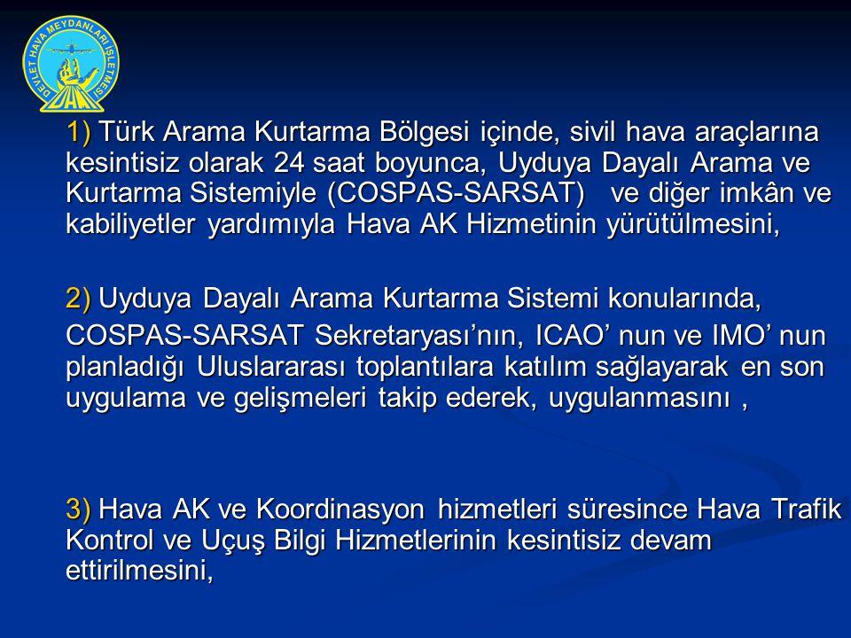 1) Türk Arama Kurtarma Bölgesi içinde, sivil hava araçlarına kesintisiz olarak 24 saat boyunca, Uyduya Dayalı Arama ve Kurtarma Sistemiyle (COSPAS-SARSAT) ve diğer imkân ve kabiliyetler yardımıyla Hava AK Hizmetinin yürütülmesini,