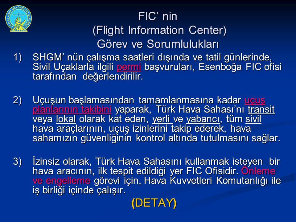 FIC' nin (Flight Information Center) Görev ve Sorumlulukları