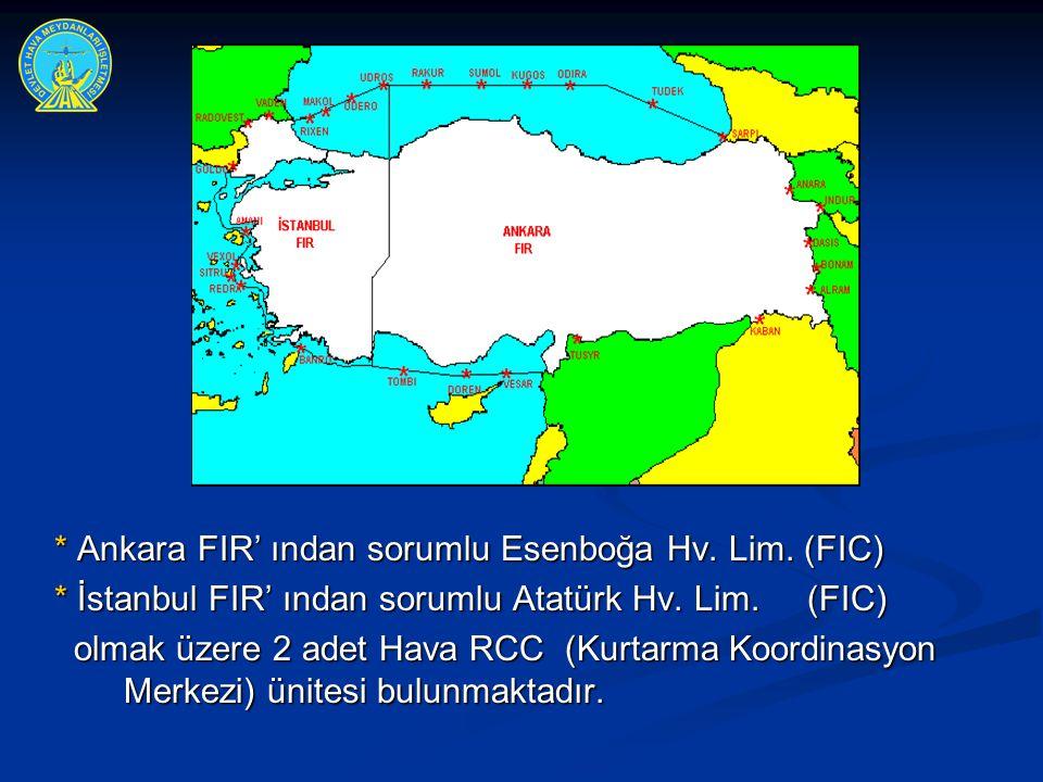 * Ankara FIR' ından sorumlu Esenboğa Hv. Lim. (FIC)