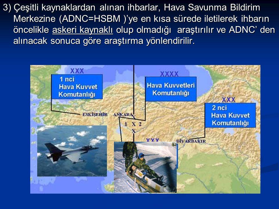 3) Çeşitli kaynaklardan alınan ihbarlar, Hava Savunma Bildirim Merkezine (ADNC=HSBM )'ye en kısa sürede iletilerek ihbarın öncelikle askeri kaynaklı olup olmadığı araştırılır ve ADNC' den alınacak sonuca göre araştırma yönlendirilir.