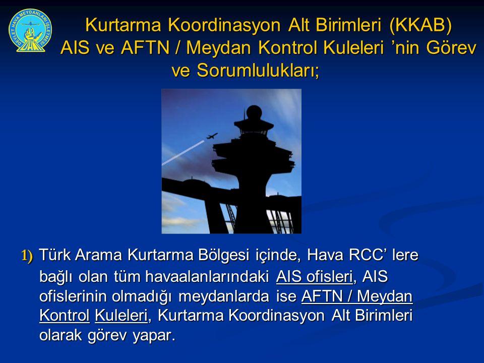 Kurtarma Koordinasyon Alt Birimleri (KKAB) AIS ve AFTN / Meydan Kontrol Kuleleri 'nin Görev ve Sorumlulukları;